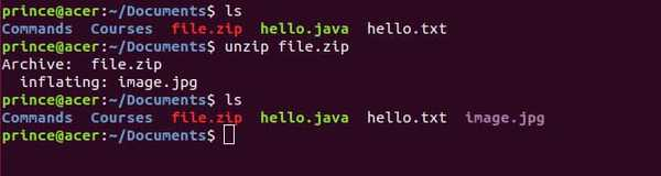 unzip linux command example