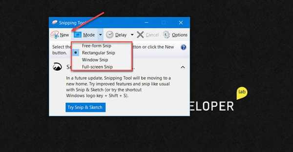 snipping tool screenshot options