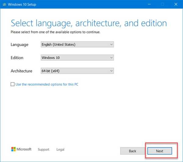 select language, version options